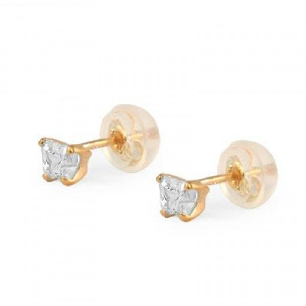 Baby 14K Yellow Gold Cubic Zirconia Butterfly Stud Earrings