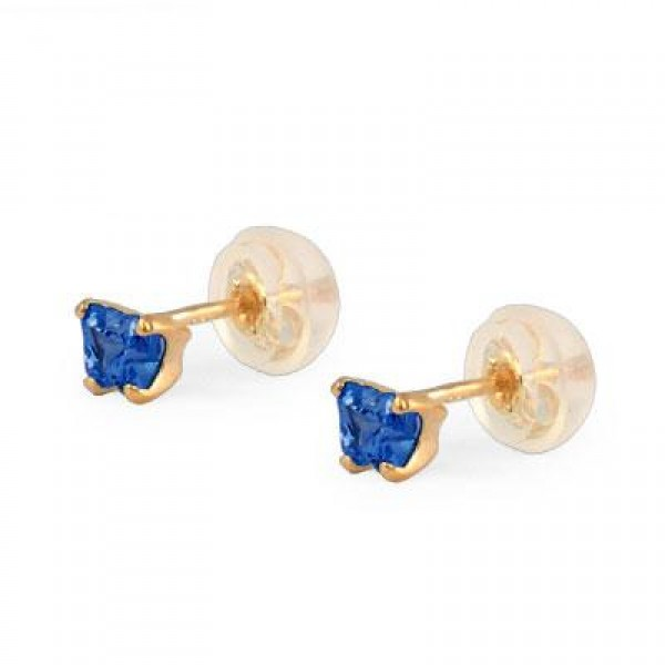 Baby 14K Yellow Gold Sapphire C.Z. Butterfly Stud Earrings