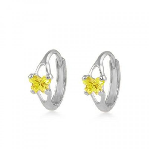 Baby 14K White Gold Huggie Hoop Earrings With Citrine C.Z. Butterfly