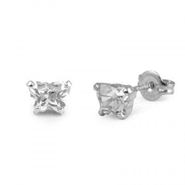 Children 14K White Gold Cubic Zirconia Butterfly Stud Earrings