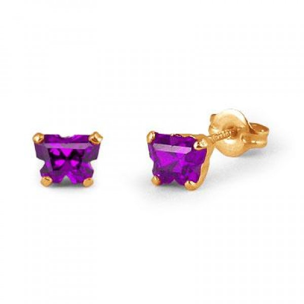 Children 14K Yellow Gold Amethyst C.Z. Butterfly Stud Earrings