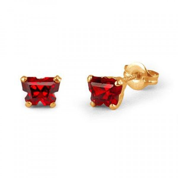 Children 14K Yellow Gold Garnet C.Z. Butterfly Stud Earrings