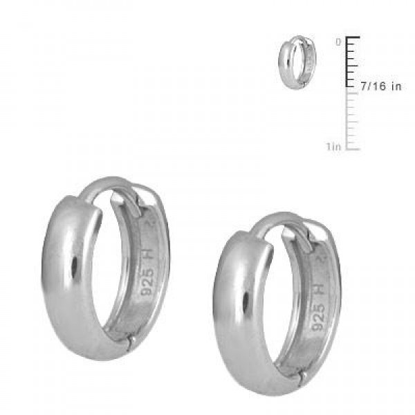 Children's Sterling Silver Plain Huggie Hoop Earrings For Girls