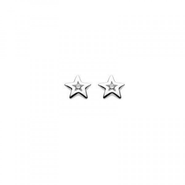 Children Jewelry - Sterling Silver Diamond Star Earrings