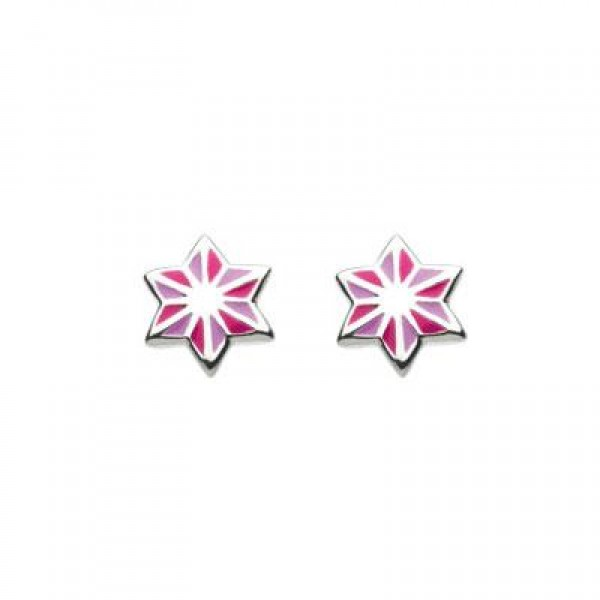 Sterling Silver Enameled Pink Strip Star Girls Earrings