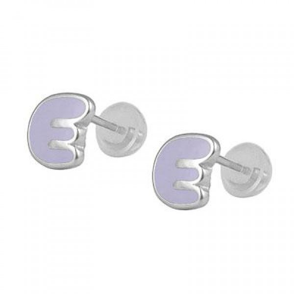 Kids Jewelry - Silver Color Enameled Initial E Silicone Back Earrings