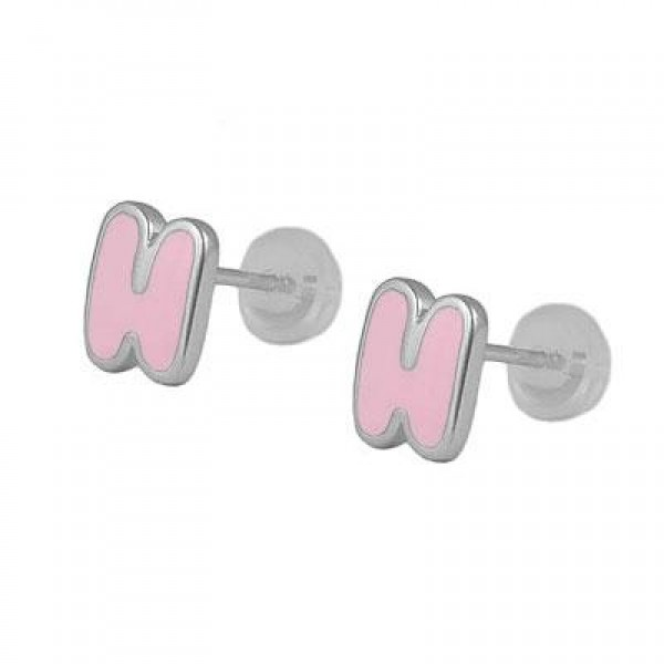 Kids Jewelry - Silver Color Enameled Initial H Silicone Back Earrings