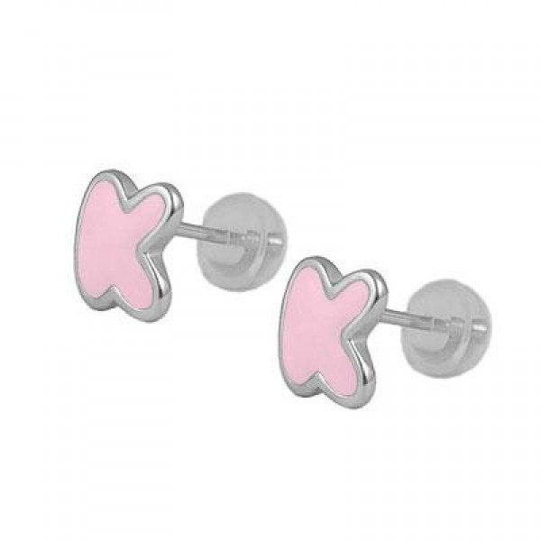 Kids Jewelry - Silver Color Enameled Initial K Silicone Back Earrings