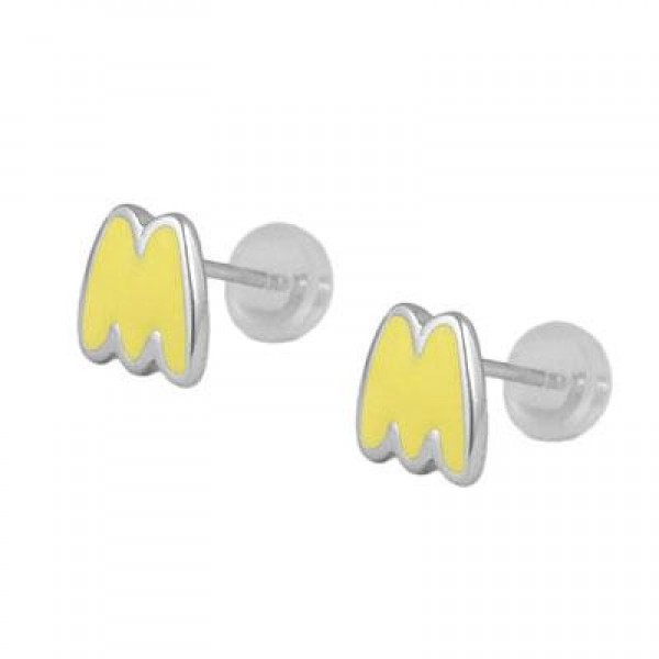 Kids Jewelry - Silver Color Enameled Initial M Silicone Back Earrings