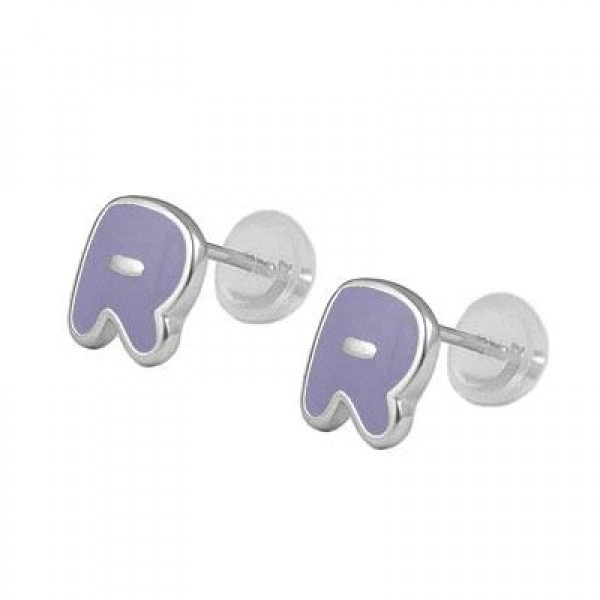 Kids Jewelry - Silver Color Enameled Initial R Silicone Back Earrings