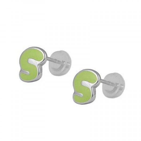 Kids Jewelry - Silver Color Enameled Initial S Silicone Back Earrings