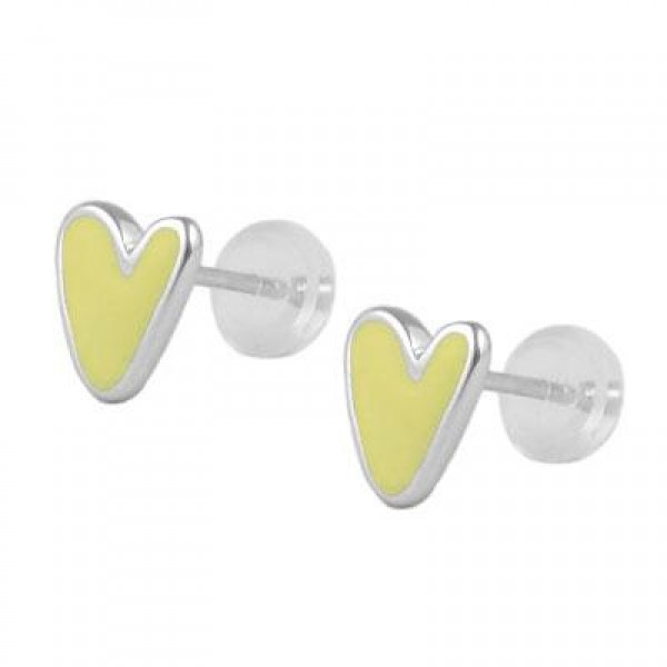 Kids Jewelry - Silver Color Enameled Initial V Silicone Back Earrings