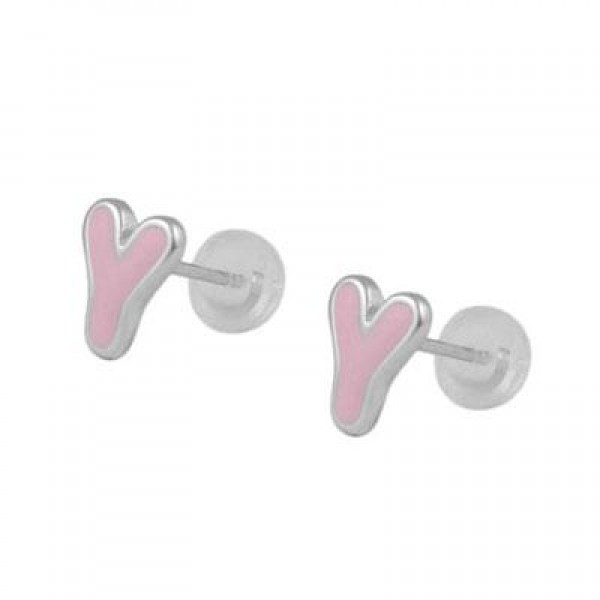 Kids Jewelry - Silver Color Enameled Initial Y Silicone Back Earrings