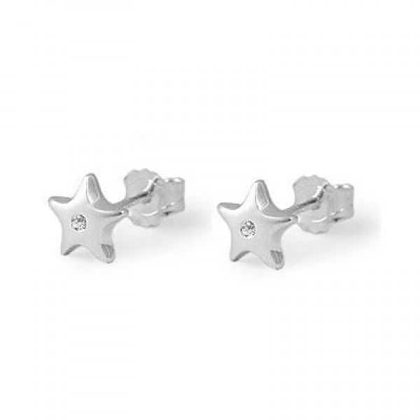 Sterling Silver Diamond Star Children's Earrings For Girls