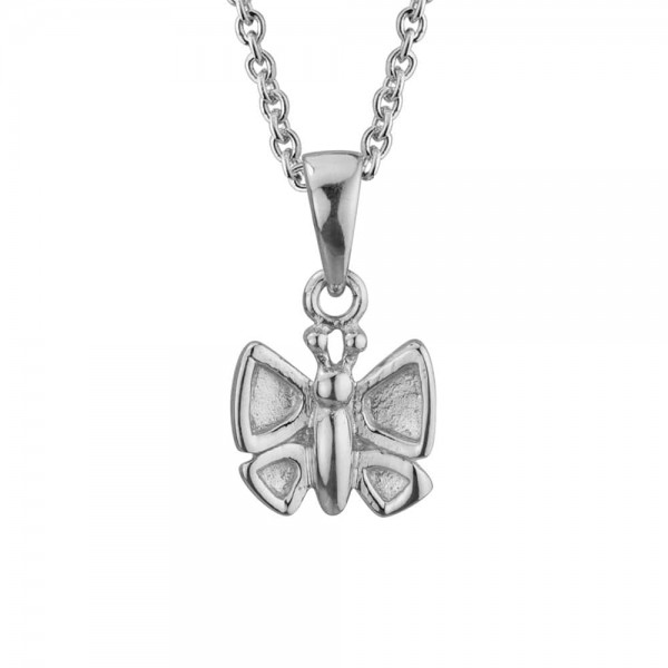 Children Jewelry - Sterling Silver Butterfly Pendant Necklace (14, 15 in)