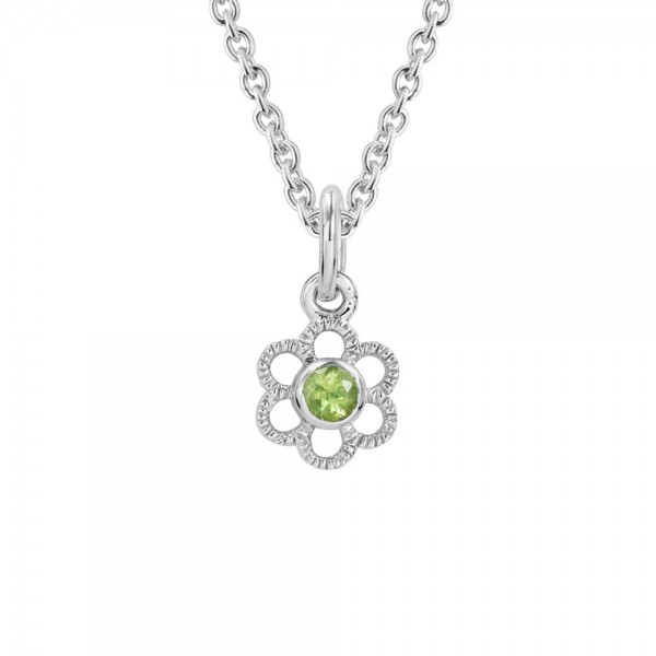 Girls Silver Genuine Peridot August Birthstone Flower Necklace (14, 15 in)