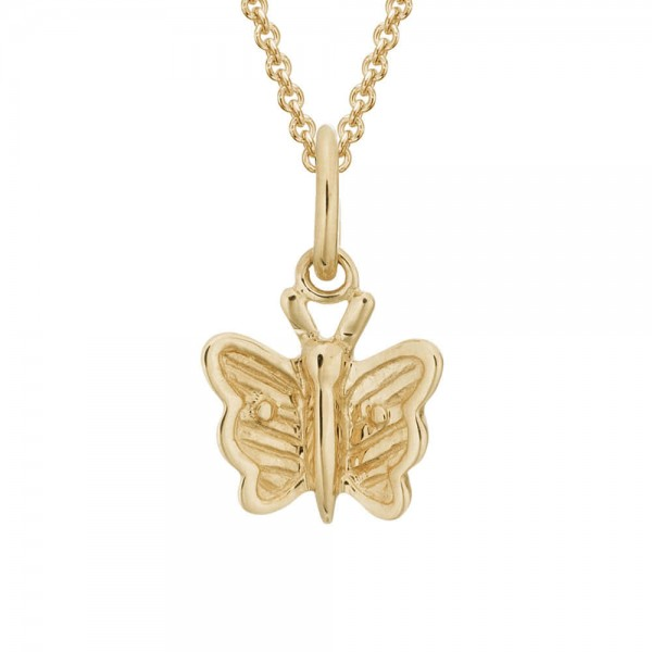 Kids Jewelry - 14K Yellow Gold Butterfly Pendant Necklace For Girls (14, 15 in)