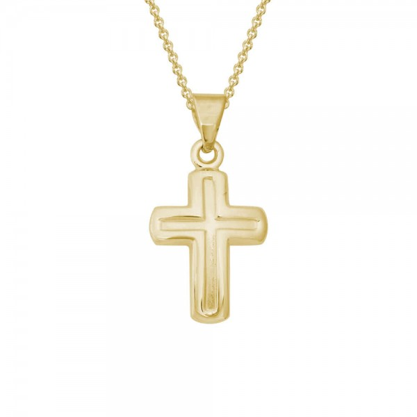 Children Jewelry For Girls - 14K Yellow Gold Cross Pendant Necklace (14, 15 in)