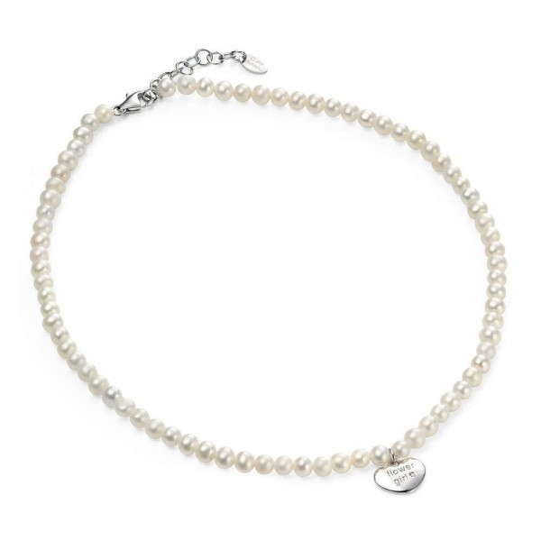 Silver Freshwater Cultured Pearl Flower Girl Diamond Heart Necklace (13 3/4-15 in)