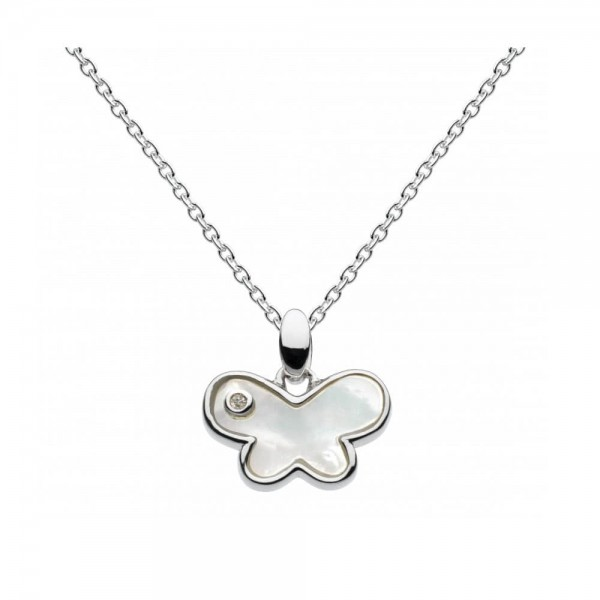 Girls Sterling Silver Mother of Pearl Diamond Butterfly Necklace (16-18 in)