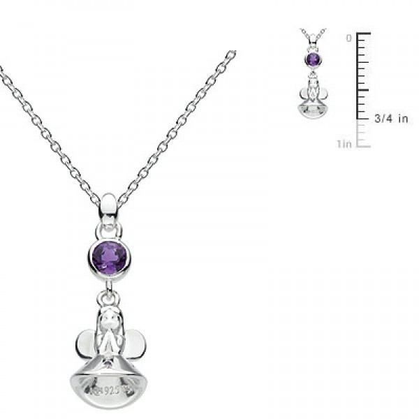 Little Girl Sterling Silver Fairy Godmother February Birthstone Necklace (12-14 in)