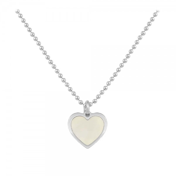 Sterling Silver White Mother of Pearl Heart Necklace For Girls (15-16 1/2 in)