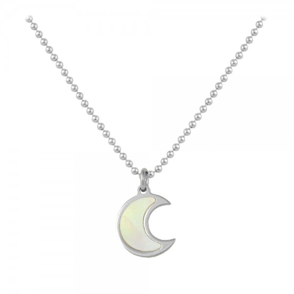 Sterling Silver White Mother of Pearl Half Moon Necklace For Girls (15-16 1/2 in)
