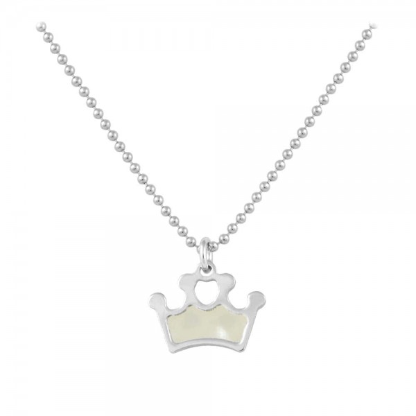 Sterling Silver White Mother of Pearl Crown Necklace For Girls (15-16 1/2 in)