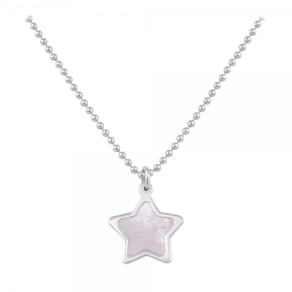 Sterling Silver Pink Mother of Pearl Star Necklace For Girls (15-16 1/2 in)