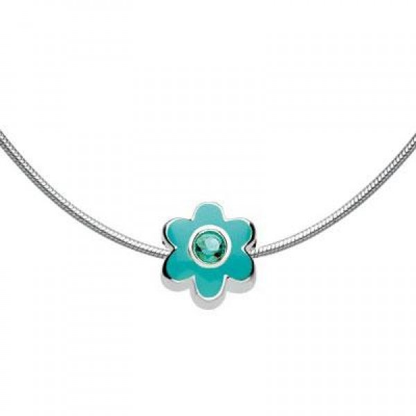 Child Silver Flower May Birthstone Bead Necklace