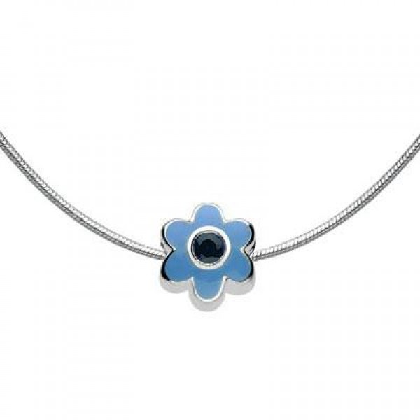 Child Silver Flower September Birthstone Bead Necklace (14, 16, 18 in)