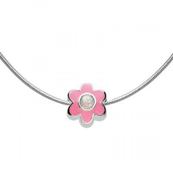 Kids Jewelry - Silver Flower October Birthstone Necklace (14, 16, 18 in)