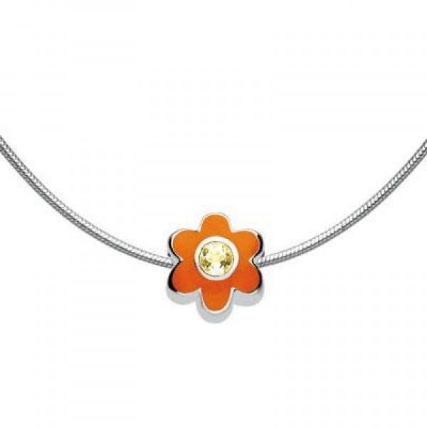 Child Silver Flower November Birthstone Bead Necklace (14, 16, 18 in)