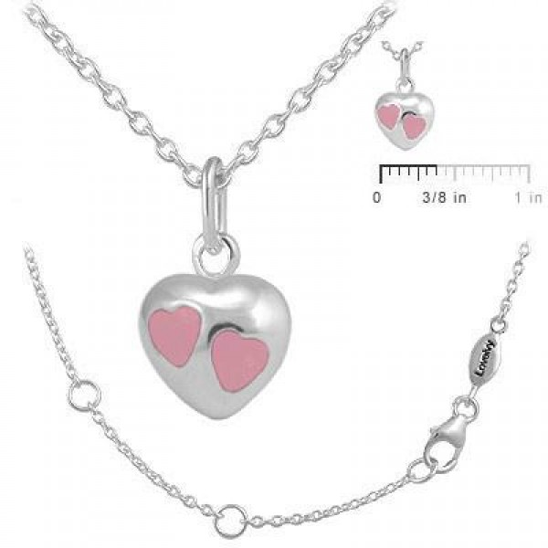 Girls Jewelry - Sterling Silver Pink Enamel Heart Pendant Necklace (12-18 In)