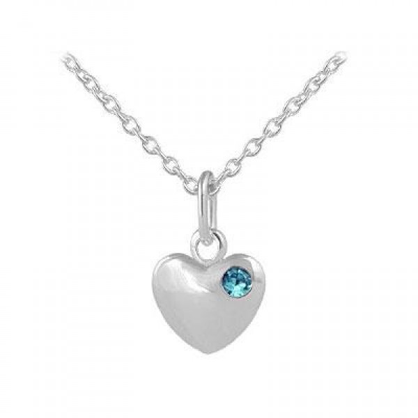 12-18 In Children Or Teen Girls Silver March Birthstone Heart Necklace