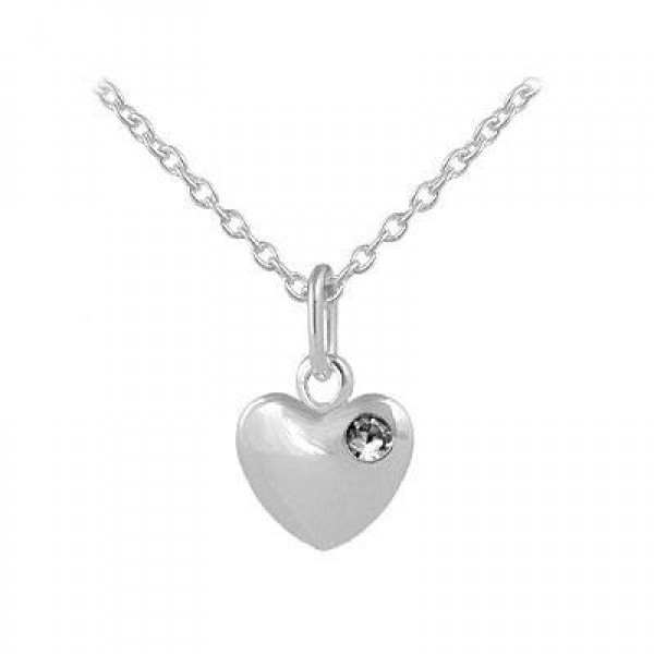 12-18 In Children Or Teen Girls Silver April Birthstone Heart Necklace