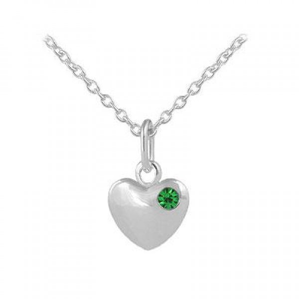 12-18 In Children Or Teen Girls Silver May Birthstone Heart Necklace