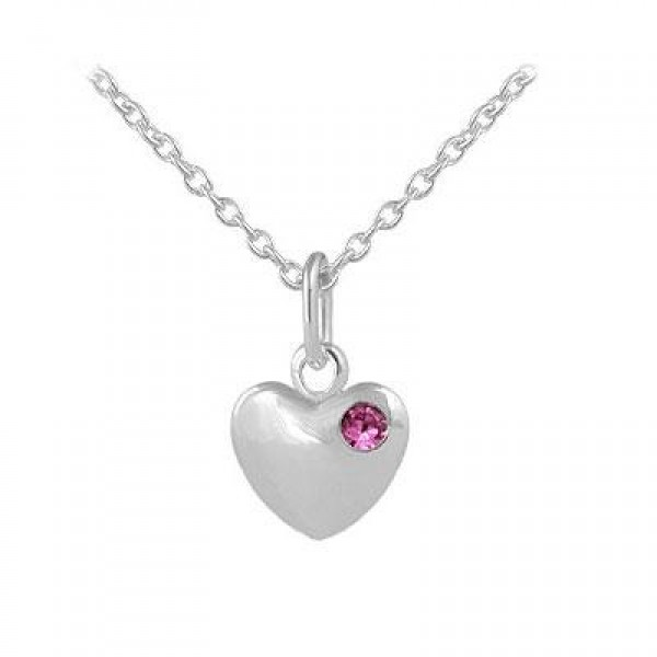 12-18 In Children Or Teen Girls Silver October Birthstone Heart Necklace