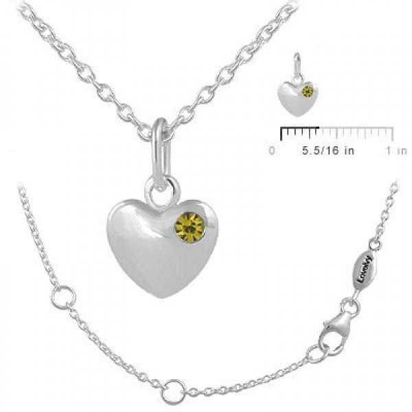 12-18 In Children Or Teen Girls Silver November Birthstone Heart Necklace