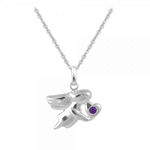 12-18 In Silver February Birthstone Children Angel Necklace For Girls