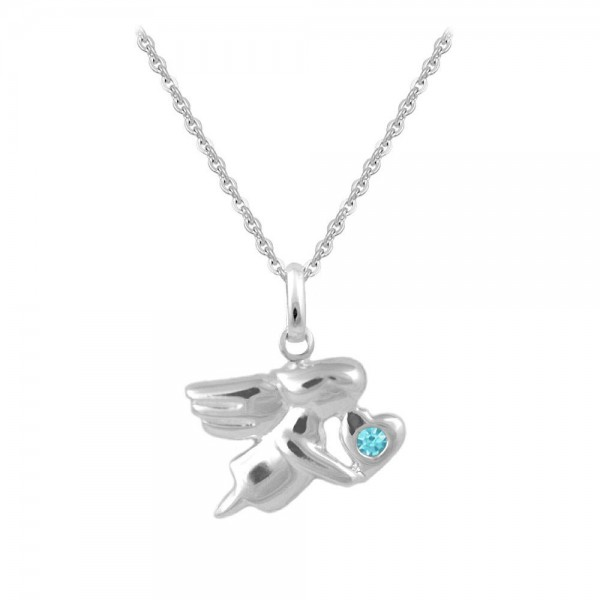 12-18 In Silver March Birthstone Children Angel Necklace For Girls