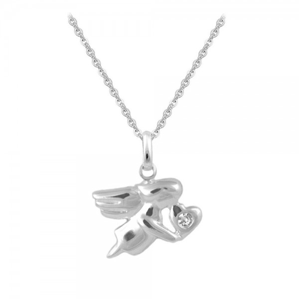 12-18 In Silver April Birthstone Children Angel Necklace For Girls