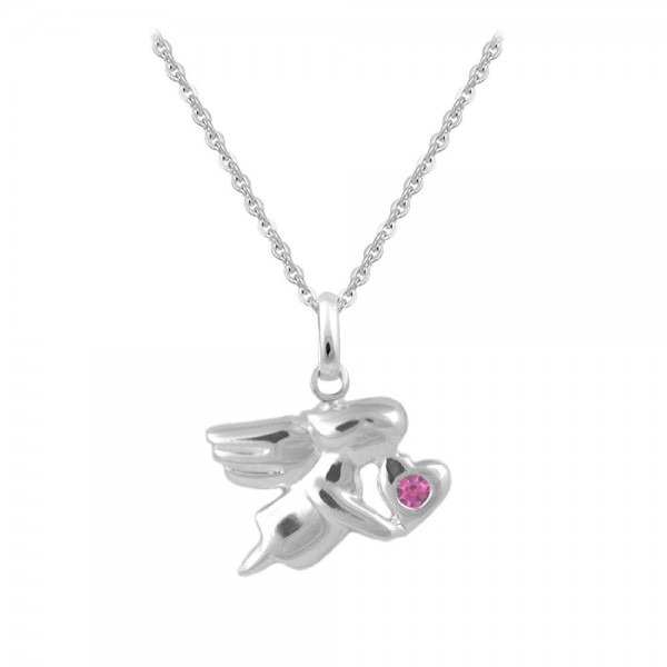 12-18 In Silver October Birthstone Children Angel Necklace For Girls