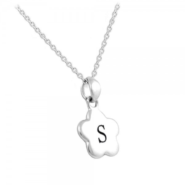 Girls sterling silver initial s flower pendant necklace 1214 in aloadofball Choice Image
