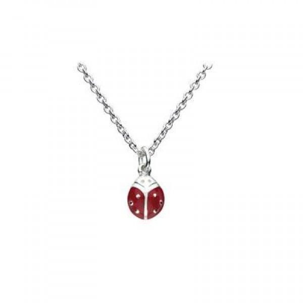Sterling Silver Enameled Red Ladybug Children's Necklace For Girls (12-14 in)