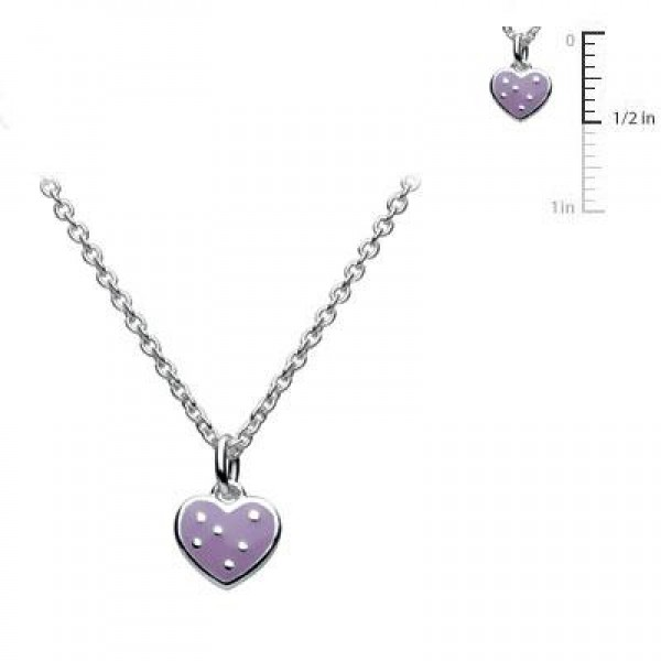 Sterling Silver Kids Purple Heart Pendant Necklace For Girls (12,13,14 in)