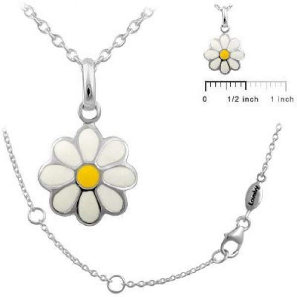 Girls Jewelry - Silver Daisy Flower Necklace For Children (12-18 In)