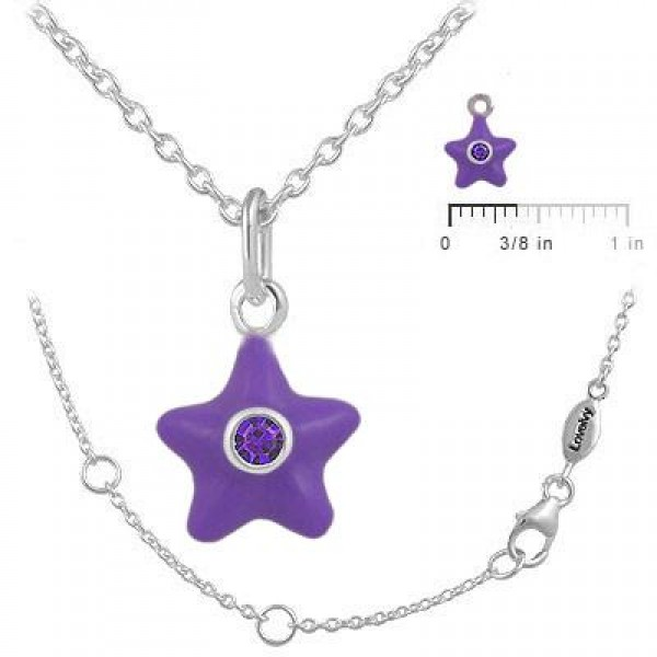 Sterling Silver Girl's February Birthstone Star Pendant Necklace (12-18 In)