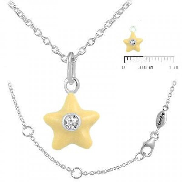 Sterling Silver Girl's April Birthstone Star Pendant Necklace (12-18 In)