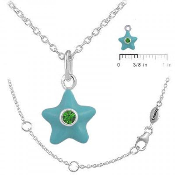 Sterling Silver Girl's May Birthstone Star Pendant Necklace (12-18 In)